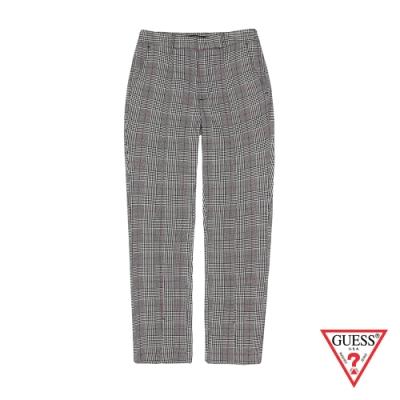 GUESS-女裝-復古格紋休閒長褲-灰