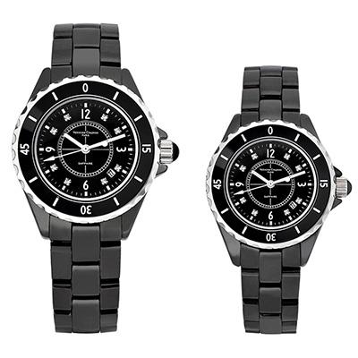 Valentino Coupeau 范倫鐵諾 古柏 精密陶瓷腕錶-黑陶/39+35mm