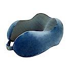 PUSH旅遊用品記憶棉搭飛機枕U型頸枕火車枕午休枕頭枕(折疊型)深藍S50