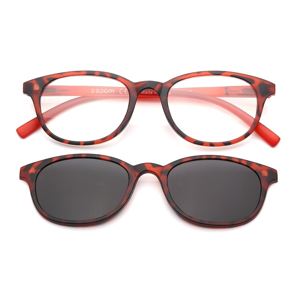 【 Z·ZOOM 】老花眼鏡 磁吸太陽眼鏡系列 時尚復古經典款 (紅豹紋色)