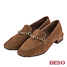 BESO 風格時尚 霧面鏈條樂福鞋~卡其