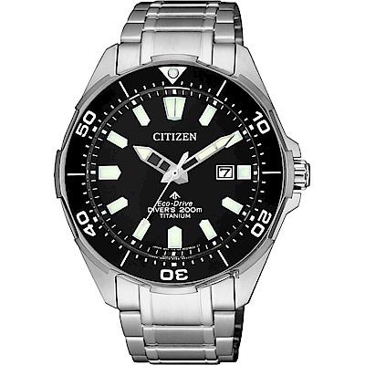 CITIZEN 星辰 PROMASTER 鈦 光動能200米潛水錶-黑x銀/43.5mm