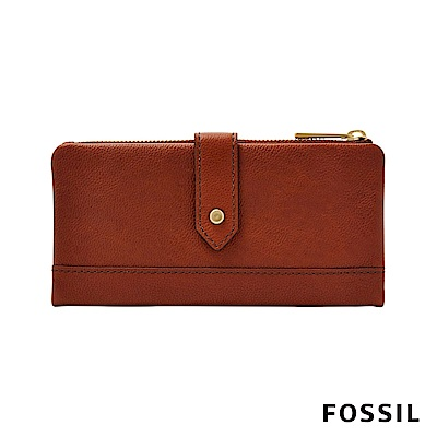 FOSSIL LAINIE 金釦設計真皮實用拉鍊長夾-咖啡色