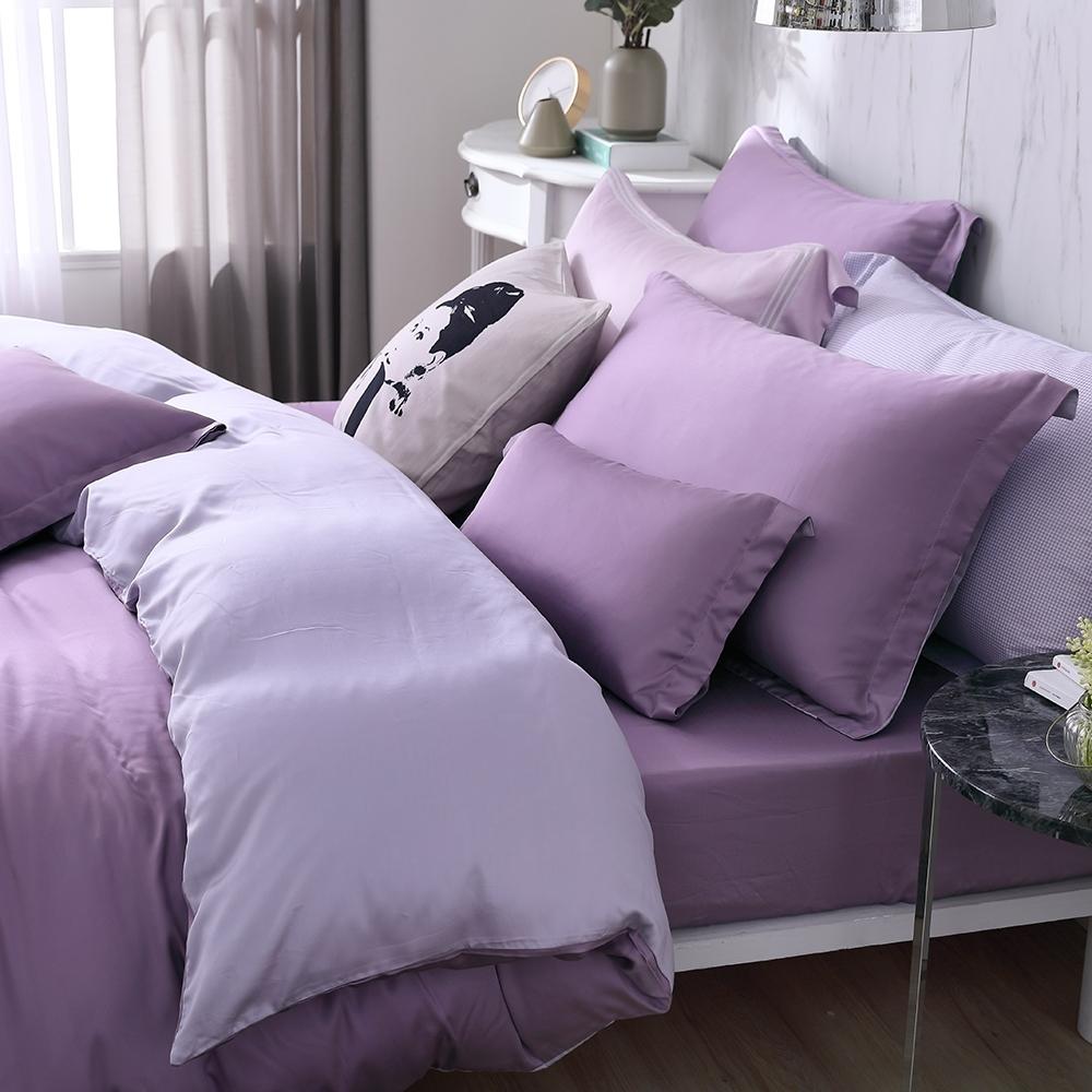 OLIVIA 玩色主義 紫 標準雙人床包歐式枕套三件組 300織膠原蛋白天絲 台灣製