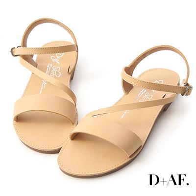 D+AF 假期專屬.一字斜帶繫踝平底涼鞋*杏