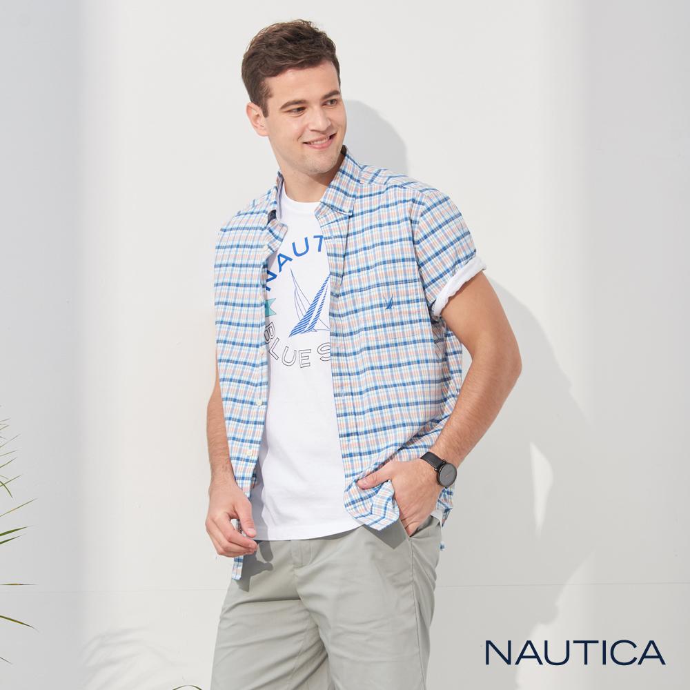Nautica清新格紋短袖襯衫-藍橘格
