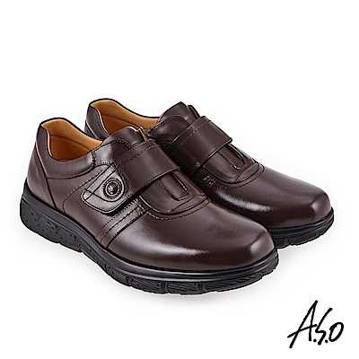 A.S.O 超能耐二代 油感牛皮氣墊休閒皮鞋深咖啡