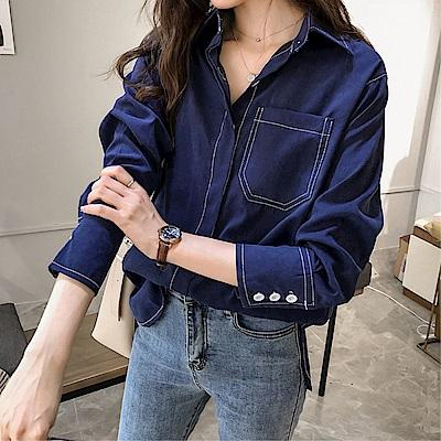 DABI 韓國風慵懶襯衫復古純色長袖上衣