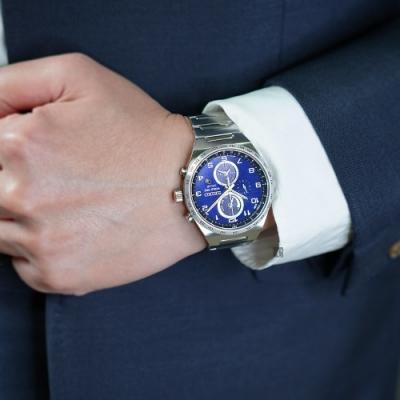 時時樂-SEIKO 精工 SPIRIT 太陽能兩地時間計時錶(黑面/藍面)