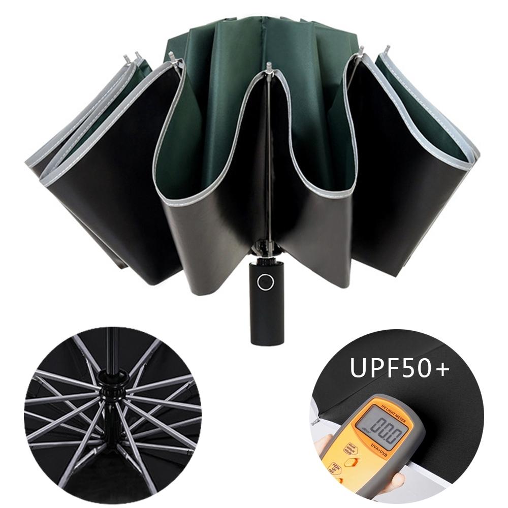 幸福揚邑  抗UV降溫10骨防強風防潑水反光條大傘面全自動UPF50+反向晴雨折疊傘-墨綠