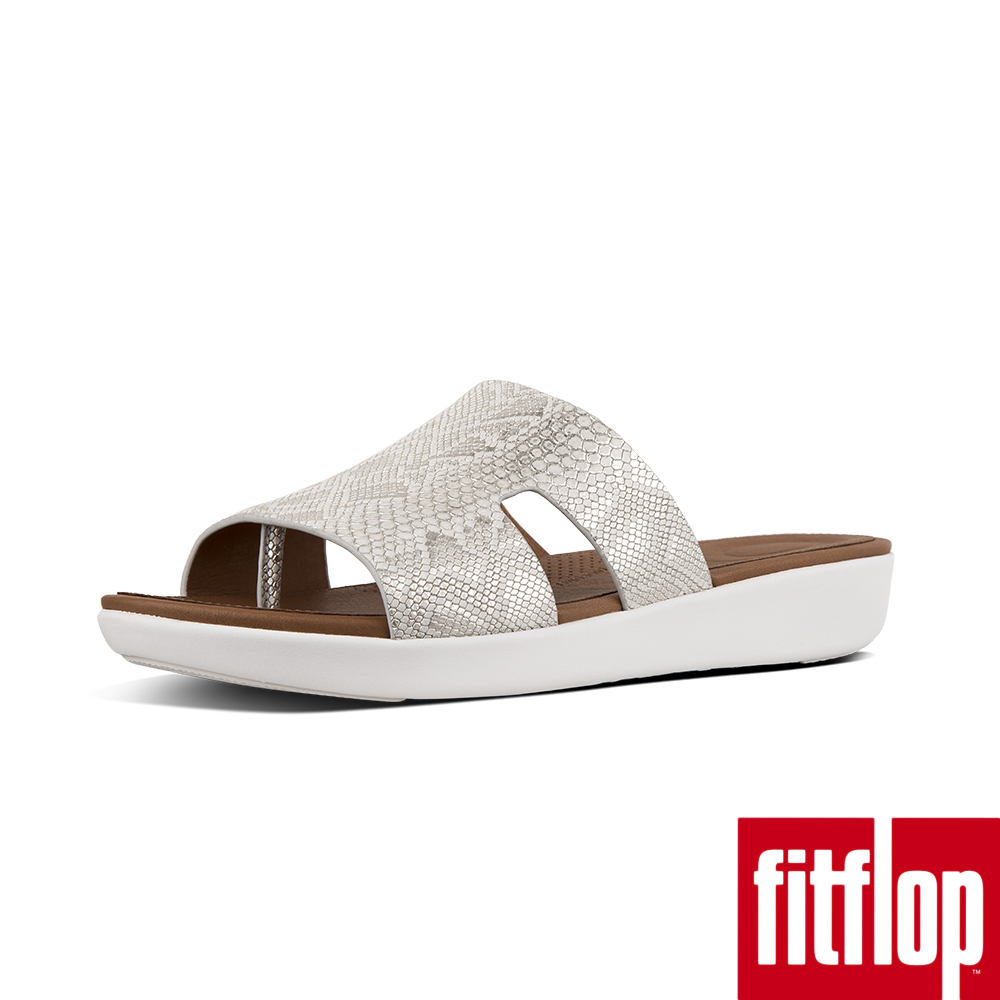 FitFlop H-BAR蛇紋厚底涼鞋白色