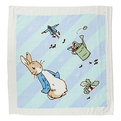奇哥 比得兔身高尺紗布浴巾/包巾-粉藍