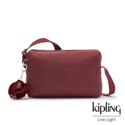 Kipling 知性典雅酒紅小巧簡約拉鍊方包-COLLEEN