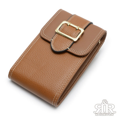2R 訂製Gold金釦牛皮手機鍊帶收納包 質感棕