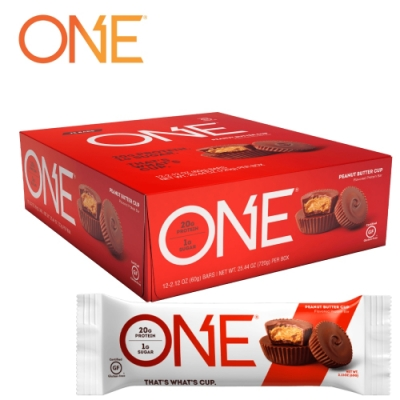 【美國 ONE Brands】ONE Bar 牛奶乳清蛋白棒 Peanut Butter Cup(巧克力花生醬杯/12x60g/盒)