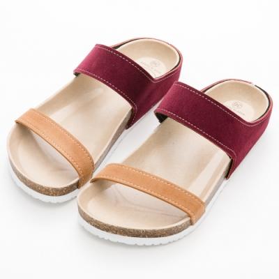 River&Moon拖鞋 台灣製撞色雙帶休閒拖鞋 紅