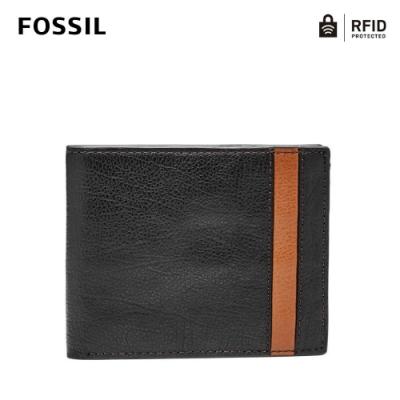 FOSSIL ENNIS 基本款RFID防盜實用皮夾-黑色 SML1578001