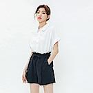 H:CONNECT 韓國品牌 女裝-落肩棉短袖襯衫-白