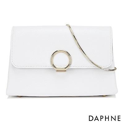 達芙妮DAPHNE-閃耀圓扣鍊帶小方包-白色