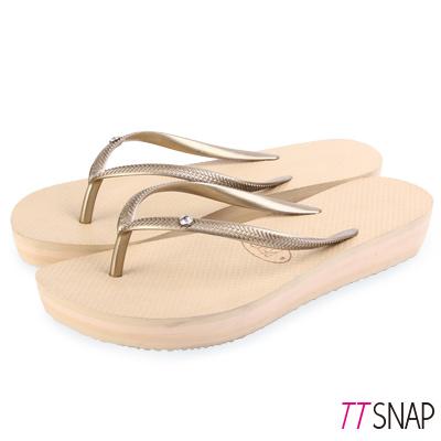 TTSNAP拖鞋-MIT時尚水鑽夾腳厚底涼拖 金