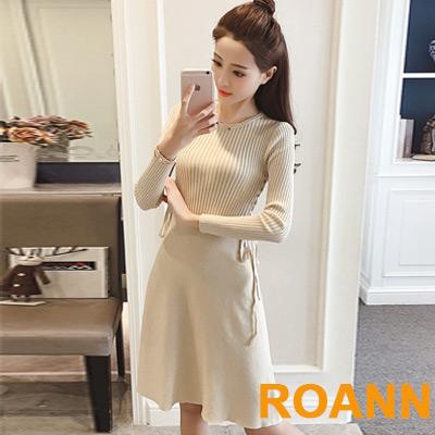素面坑條紋交叉綁帶針織洋裝 (共二色)-ROANN