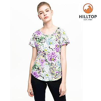 【hilltop山頂鳥】女款吸濕快乾抗UV印花T恤S04FH6紫