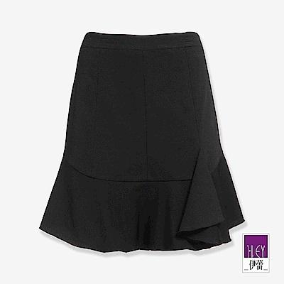 ILEY伊蕾 飄逸荷葉剪接褲裙(黑)
