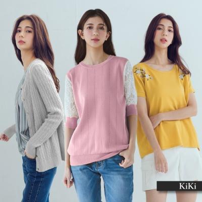 [時時樂限定]【KiKi】換季新春品必備-針織衫(多款選/織紋A款/蕾絲B款/刺繡C款/實穿D款)