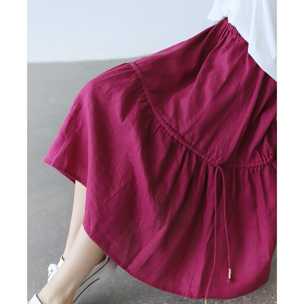 法式不規則高腰顯瘦A字裙赫本風裙子多色可選-設計所在