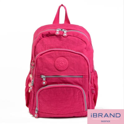 iBrand後背包 繽紛樂園尼龍多口袋後背包-桃紅色
