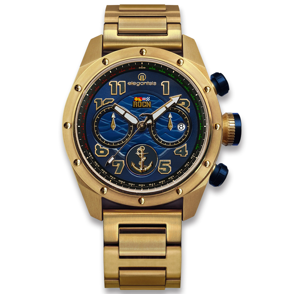 elegantsis 限量 中華民國海軍艦隊款 不鏽鋼手錶-藍x鍍金/47mm ★贈錶帶 @ Y!購物