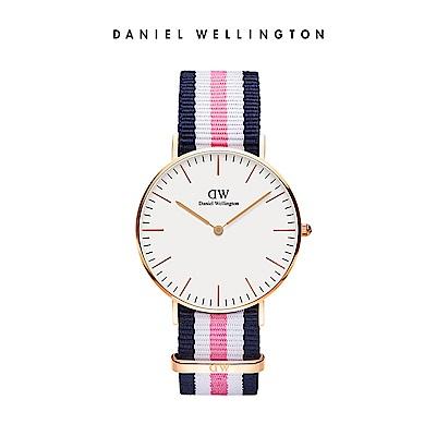 DW 手錶 官方旗艦店 36mm玫瑰金框 Classic 活潑藍粉織紋手錶
