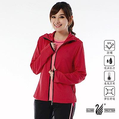 【遊遍天下】MIT台灣製女款抗UV吸排機能連帽外套(紅色)