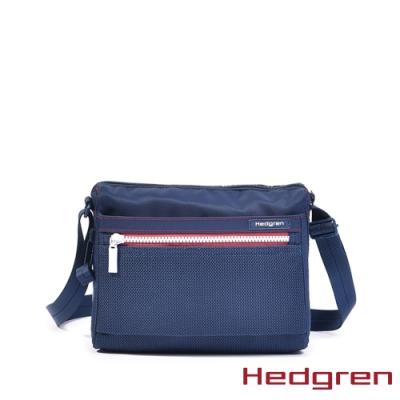 【Hedgren】藍底小白拉鍊多夾層收納斜背包 – HIC176 EYE