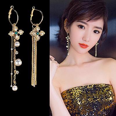 梨花HaNA 韓國綠寶石十字架設計師款珍珠耳環