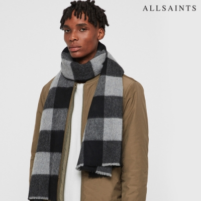 ALLSAINTS BUFFALO CHECK格紋編織圍巾