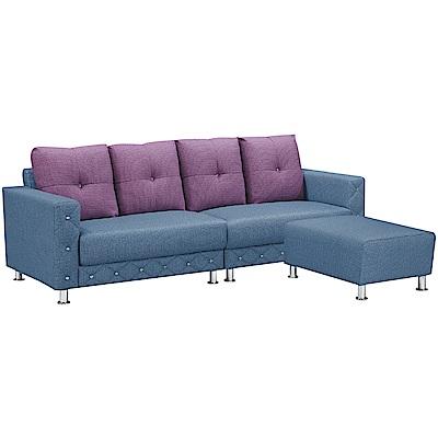 文創集 安雷登英倫風透氣皮革L型沙發組合(四人座+椅凳)-246x173x77cm免組