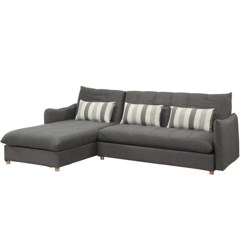 文創集 拉克皮革L型沙發床(二向可選+展開式設計)-255x180x89cm免組