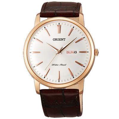 ORIENT東方簡約時尚真皮手錶-白X玫瑰金框/40mm