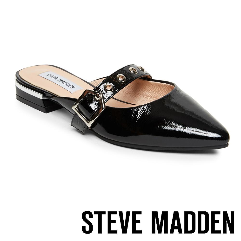 STEVE MADDEN-KYO 鉚釘尖頭底跟穆勒鞋-鏡黑