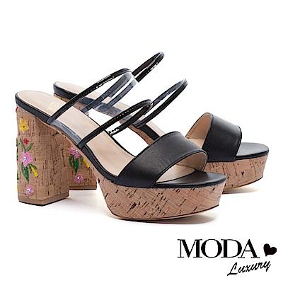 拖鞋 MODA Luxury 復古透明膠片寬帶羊皮繡花木質粗高跟拖鞋-黑