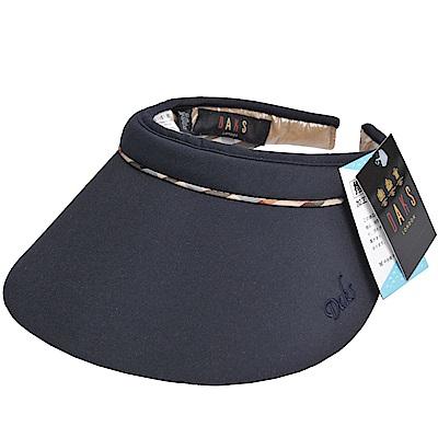 DAKS 經點字母LOGO刺繡格紋滾邊運動型遮陽帽(深藍色系)
