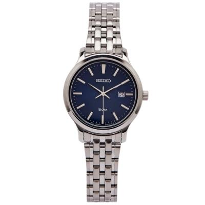 SEIKO 簡約魅力風的女性手錶(SUR651P1)-藍面X銀色/30mm
