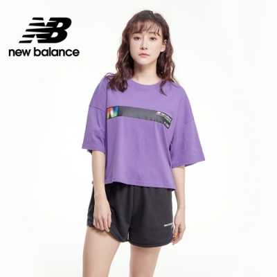 【New Balance】OPTIC 胸前橫槓短版Tee_女性_紫色_AWT03525MVT