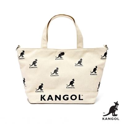【KANGOL】英式經典-LOGO大容量托特包-白