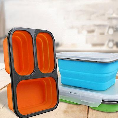 [aiken]三格矽膠環保餐盒 (顏色隨機出貨)