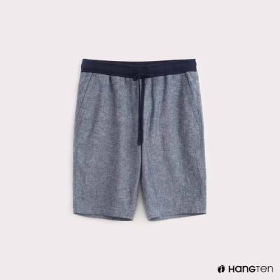 Hang Ten-男裝腰部鬆緊棉麻短褲-藍