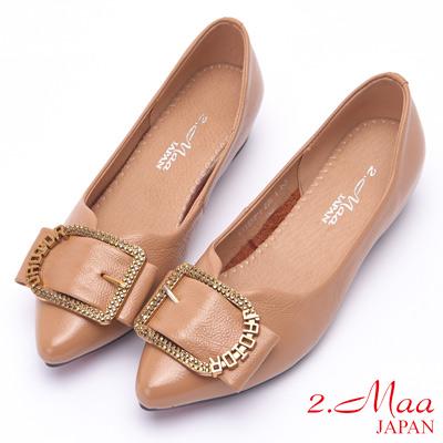 2.Maa 率性方釦牛皮低跟尖頭娃娃鞋 - 米 @ Y!購物