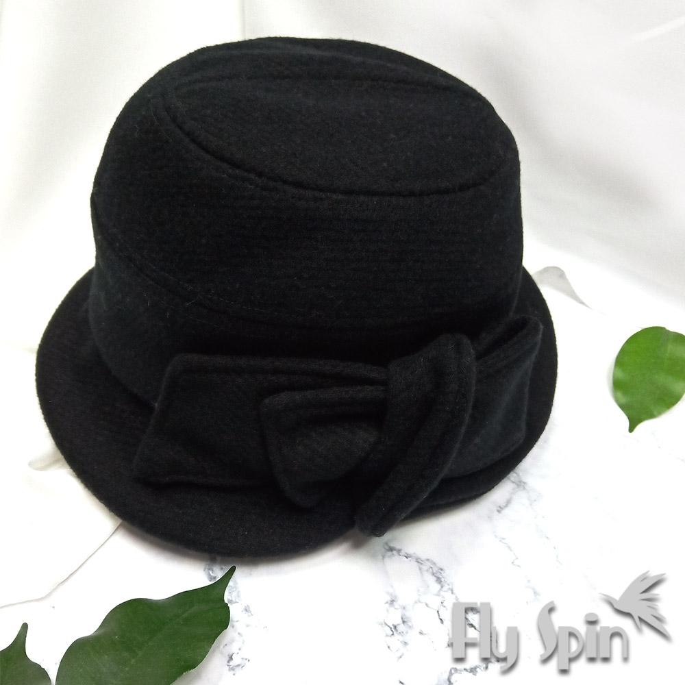 FLYSPIN秋冬防寒保暖羊毛呢蝴蝶結裝飾英倫風淑女盆帽