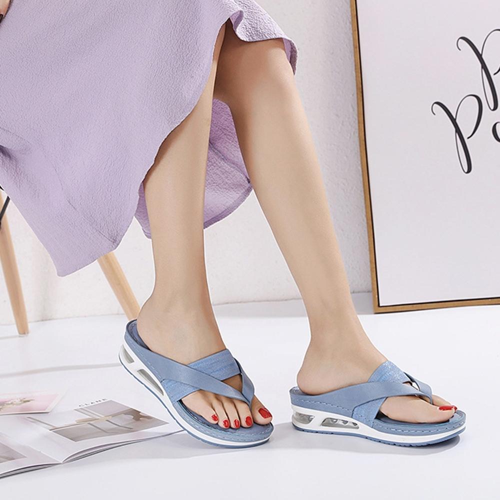 LN  現+預 大碼夾腳坡跟氣墊涼拖鞋(涼拖鞋/休閒鞋)